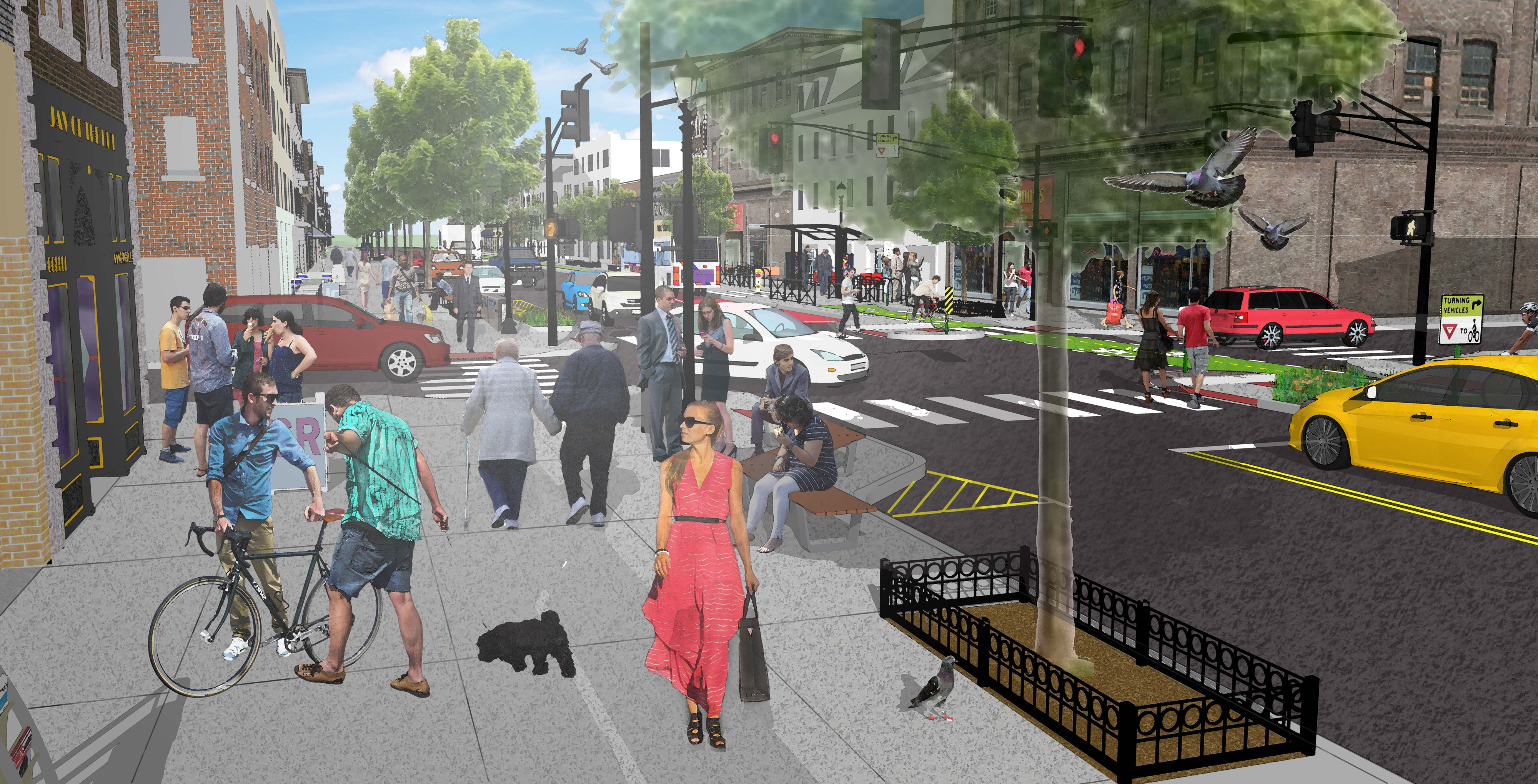 Washington Street pedestrian level rendering