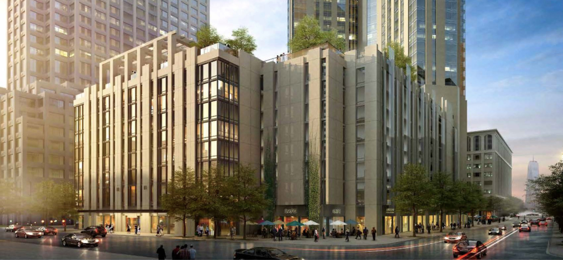 Rendering: 99 Hudson Street from corner of Grand & Greene