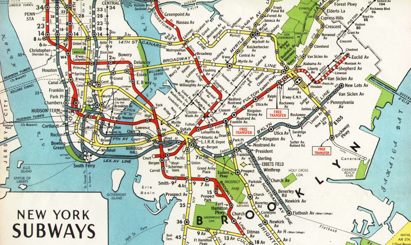 Train Subway Map New York.Nyc Subway Maps Have A Long History Of Including Path Nj Waterfront