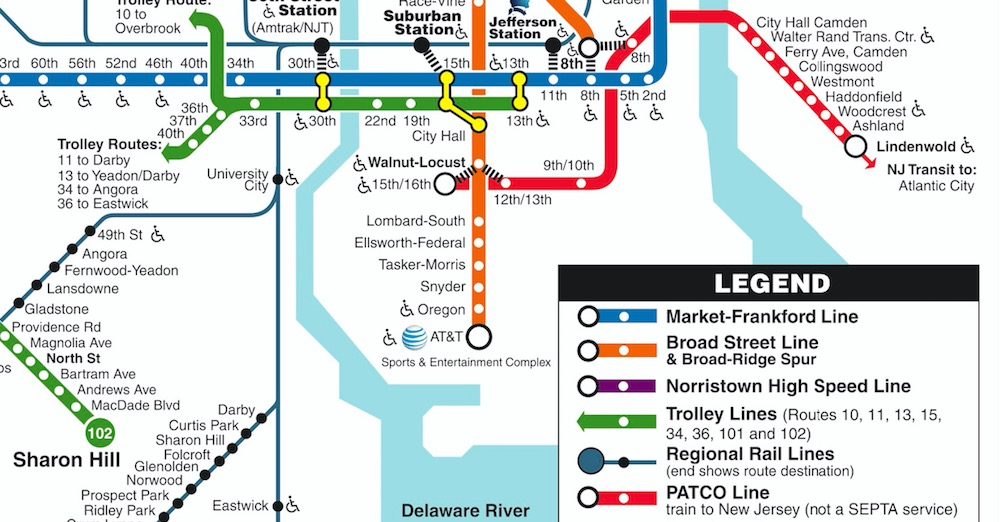 Closeup: PATCO Speedline on SEPTA Rail Transit Map