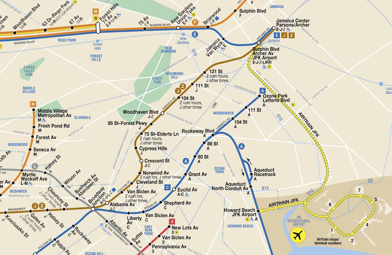 AirTrain JFK on Subway Map