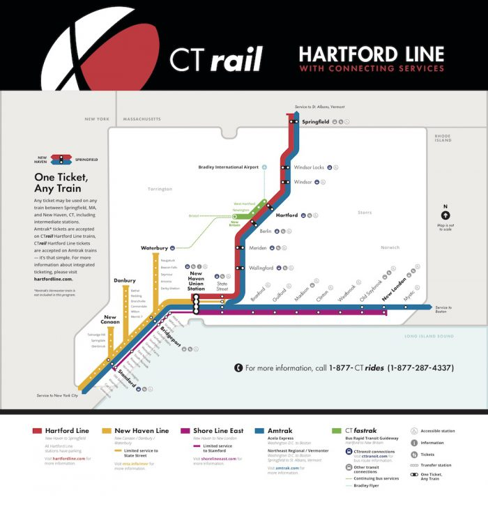 CT Rail Hartford Line Service Map