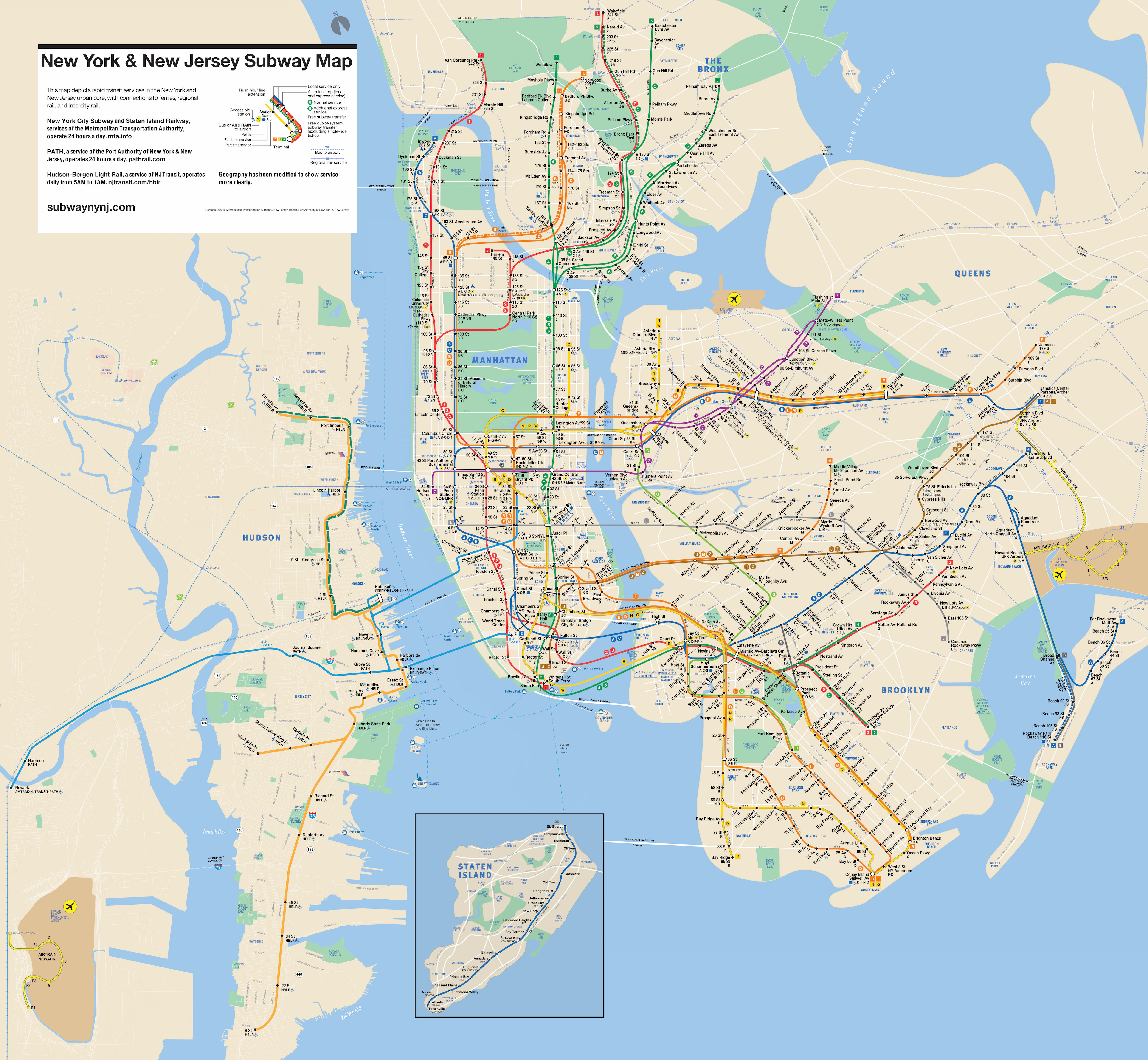 New York & New Jersey Subway Map